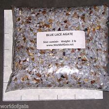 BLUE LACE AGATE 3-5mm tumbled 2 lb bulk xxmini+ stones Silicon dioxide  SAVE 20%