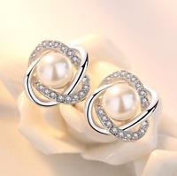 Womens Pearl Earrings Swirl Round Ear Stud Studs Fashion Jewellery Silver Gift