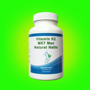 VITAMIN K2 MK7 NATURAL NATTO SUPER STRENGTH 100mcg 180 Vegetarian Capsules