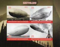 Madagascar 2018 MNH Zeppelins Zeppelin 4v IMPF M/S Airships Aviation Stamps
