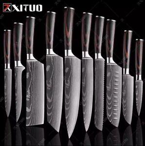 "XITUO Japan Damascus Laser Pattern Knives Set 8""+7""+3.5"" Set Handmade Chef Knife"