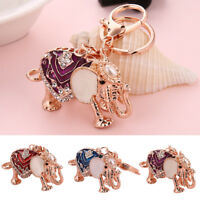 HK- Elephant Animal Pendant Key Chain Rhinestone Keychain Ring Bag Car Decor Not
