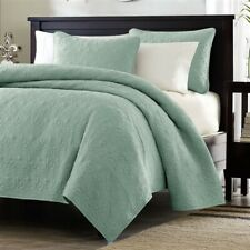 Twin / Twin Xl Size Coverlet Quilt Set With Sham Seafoam Blue Green Cotton Fill