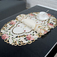 Vintage Embroidered Lace Placemats  Kitchen Dining Table Cover Mat Oval 15x33in