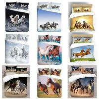 UK Made 3D Multi Horse Design Photo Digital Duvet Quilt Cover With Pillowcases