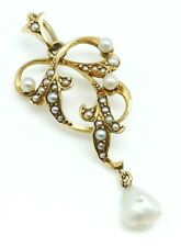 VICTORIAN Solid 14k Yellow Gold / Pearls Ladies Brooch Pin