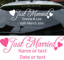 JUST MARRIED personalised car sticker  Romance Love Wedding Limo NAMES  C3