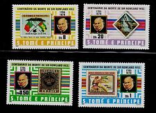 ST. THOMAS & PRINCE ISLAND  SCOTT# 573-576 MNH  STAMP ON STAMP TOPICAL