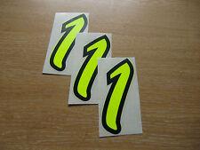 Juego De 3-Black & Fluorescente Amarillo número 1 Calcomanías - 95 mm Alto pegatinas