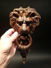 Antique Vintage Style Cast Iron Lion Door Knocker w Hook