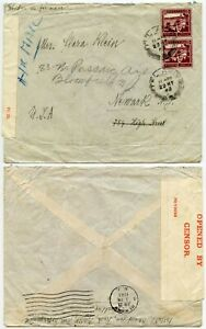 PALESTINE WW2 CENSORED AIRMAIL PAN AM SOUTH ATLANTIC CLIPPER 1943 to USA 50M x 2