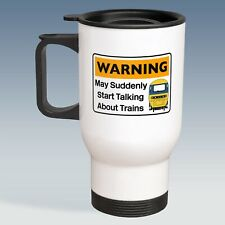 Warning May Suddenly Start Talking Trains HST BR Blue 14oz Stainless Travel Mug