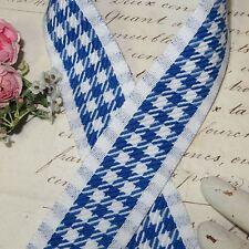 VTG FRENCH CAFE BLUE WHITE CHECK TRIM RIBBON PARIS BAKERY LINEN TOWEL GINGHAM