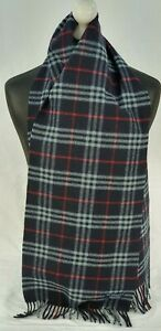 BURBERRY SCARF 100% LAMBSWOOL FOR MEN AND WOMEN MADE IN ENGLAND NAVY TU