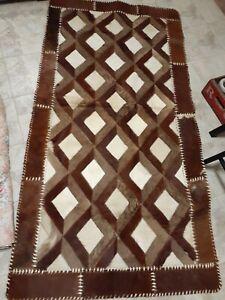 Hair on Hide Floor Rug Handmade Decorative Diamond Patchwork Genuine Teppich