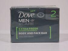 2 DOVE MEN CARE extra fresh INVIGOTING FORMULA BODY & FACE BAR SKIN COMFORT NEW