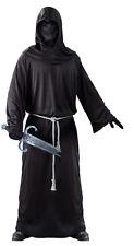 Adult Mens Grim Reaper Costume Black Death Medieval Fancy Dress Robe & Mask NEW