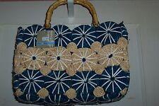 NWT Jude Blue on Blue Tan White Circle Carry all Tote Handbag Bamboo Handles