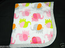 Blankets & Beyond White Blanket Pink Green Elephants Plush Velour