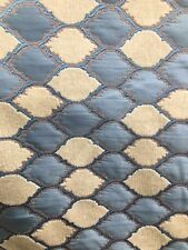 BLUE IVORY DIAMOND CHENILLE UPHOLSTERY BROCADE FABRIC (54 in.) Sold BTY