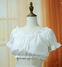 Women Puff Sleeve Frilly Blouse Cotton Chiffon Lolita Lace Top Short Shirt Cute