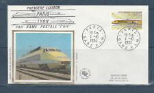 FRb enveloppe   train TGV 1ère liaison postale Paris Lyon 75 Paris 1984