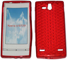 Pattern Soft Gel Case Protector Cover For Sony Ericsson Xperia U ST25i Red UK