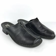 Josef Seibel Women's Size EU 40 US 9 Black Leather Cap Toe Slip On Clogs Mules