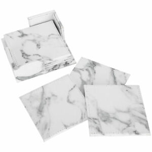 6Pcs Marble Pattern Cup Mat Coaster Set Waterproof Artificial Leather Placemat