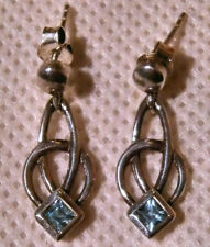 Sterling Silver and Aquamarine Rennie Mackintosh Style Drop Earrings (Boxed)