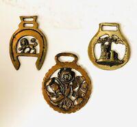 3 Vintage 1970 Brass Horse Harness Medallions~Tudor Rose/Rampant Lion/Castle