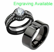 & Titanium Wedding Engagement Ring Set bs His Hers 4 Pc Black Stainless Steel