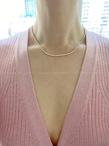 12 CT Round Cut Tennis Necklace Solid 14k White Gold Plated  For Women's