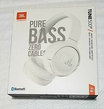 JBL Tune 500BT Wireless Bluetooth Headphones, White, NEW! SEALED Box! Hands Free