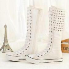 Women PUNK Gothic Rivets Canvas Boots Sneakers Knee High Lace Up Shoes Sz Sbox4
