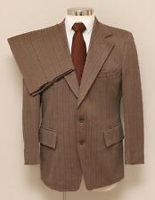 Vintage Mens 40R Broadway Clothes 2 Piece Brown/Green/Rust Stripe Suit
