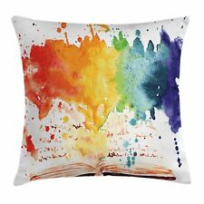 Watercolor Throw Pillow Case Open Book Colors Square Cushion Cover 24 Inches