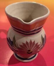 Henriot Quimper France Small Vase signed Creamer Pottery Flowers