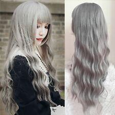 Damen Grau Perücke Lang Haar Gelockt Gewellt Wig Harajuku Cosplay Partei Hair