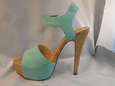 Luichiny Light Blue Aqua Platform Cork Mary Janes Heels Women's Size 6 M