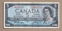 1954 $5 Bank of Canada Note Beattie Coyne U/C 4112222 - VF
