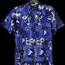 Hawaiian Shirt Vintage 1960s Paradise Hawaii Blue Hippie Flowers Metal Buttons M