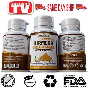 TURMERIC+GARLIC+Ginger+PEPPER 95% CURCUMIN Extra STRENGTH Capsules TUMERIC Pills