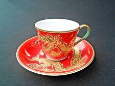 RED TEA CUP / DEMITASS GOLD MORIAGE DRAGONWARE GEISHA LITHOPHANE MADE IN JAPAN