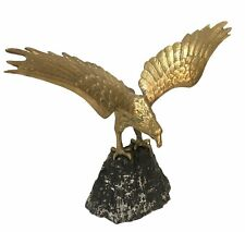 """Vintage Brass American Eagle On A Mountain Statue 21.5"""" Wing Span Mid Century"""