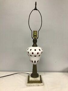 ANTIQUE CZECHOSLOVAKIA BOHEMIAN WHITE CUT TO CRANBERRY DOT TABLE LAMP