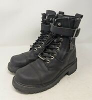 Milwaukee Black Leather Trooper Motorcycle Boots Womens Sz 7 Biker MB203