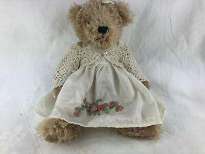 SETTLER BEAR - 27 CM CROCHETED JACKET - SILKY DRESS & APPLIQUE - TEDDY BEAR