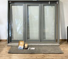 KLOEBER GREY BIFOLDING DOORS-BI FOLDING-BIFOLDS-OAK HARDWOOD-SOLID-WOODEN-NEW