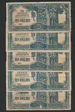 (A) Japanese Occupation 10 Dollars Mix Letter MD/ME/MG/MH/MJ